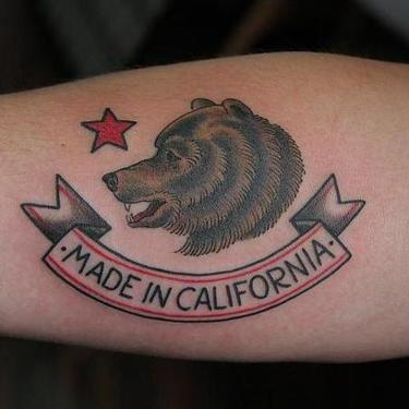 Made In California Bear Tattoo