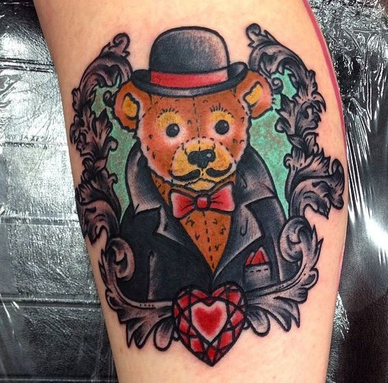 Mafia Little Teddy Bear Tattoo Idea
