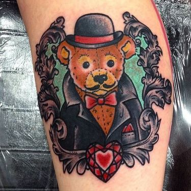 Mafia Little Teddy Bear Tattoo