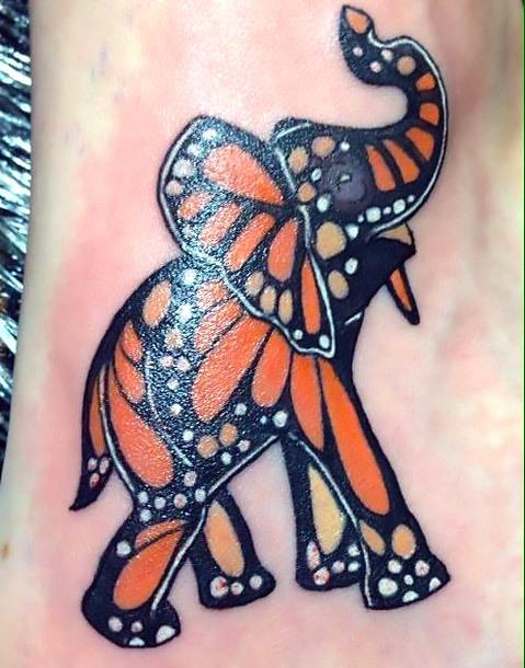 Monarch Butterfly Elephant Tattoo Idea