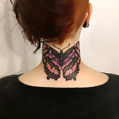 Butterfly on Neck Tattoo Idea