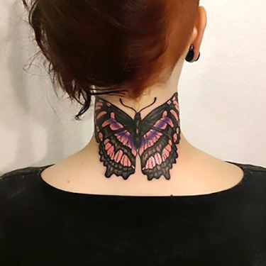 Butterfly on Neck Tattoo