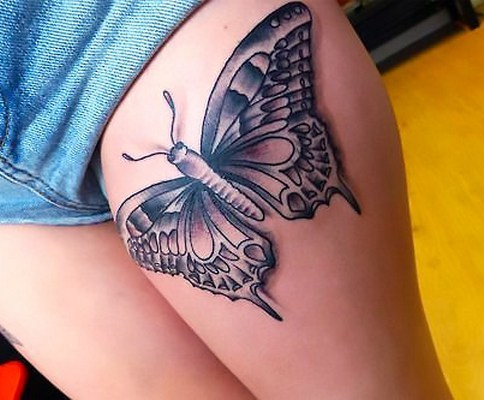 Butterfly on Thigh Tattoo Idea