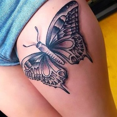 Butterfly on Thigh Tattoo