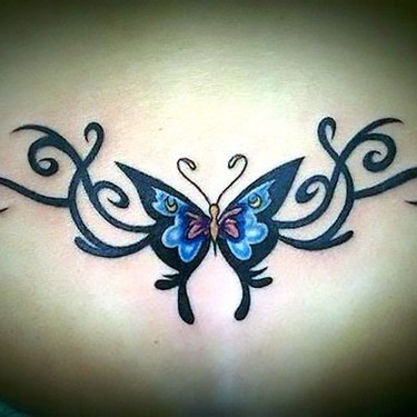 Butterfly Tramp Stamp Tribal Tattoo