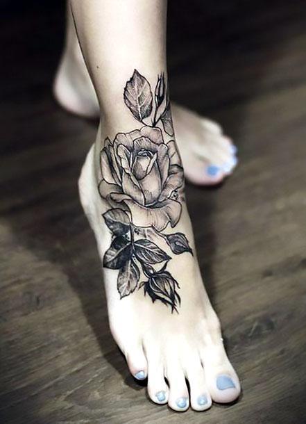 Beautiful Rose on Ankle Tattoo Idea
