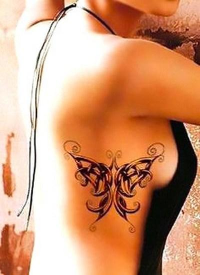 Celtic Butterfly on Side Tattoo Idea