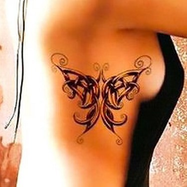 Celtic Butterfly on Side Tattoo