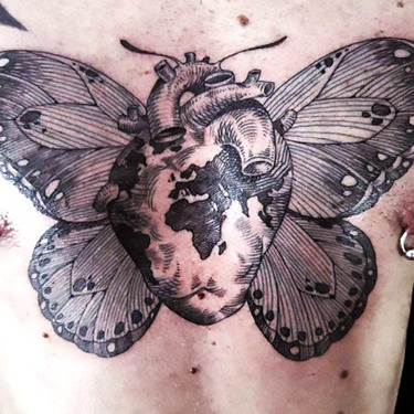 Black and White Butterfly Heart Tattoo