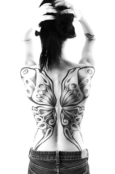 Black and White Butterfly Wings Tattoo Idea
