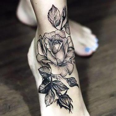 Beautiful Rose on Ankle Tattoo
