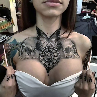 Black/White Chest Butterfly Skulls Clock Tattoo