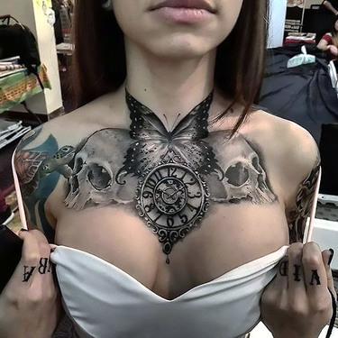Black/White Chest Butterfly Skulls Clock Tattoo
