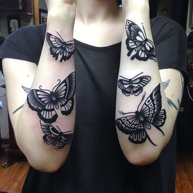 Black Butterflies and Moths Tattoo