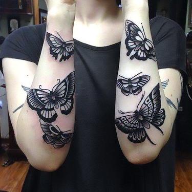 Black Butterflies and Moths Tattoo