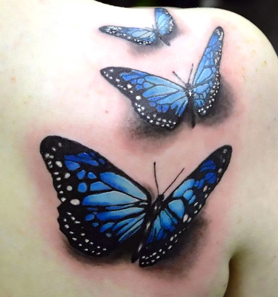 Blue 3D Butterflies Tattoo Idea