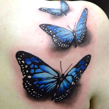Blue 3D Butterflies Tattoo