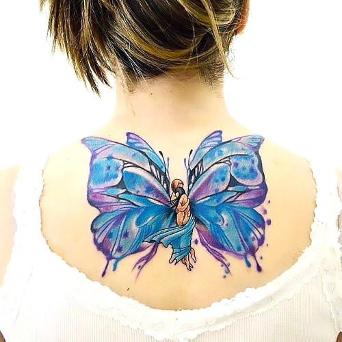 Loving Embrace Blue Butterfly Tattoo Tattoo Idea
