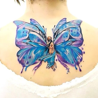 Loving Embrace Blue Butterfly Tattoo Tattoo