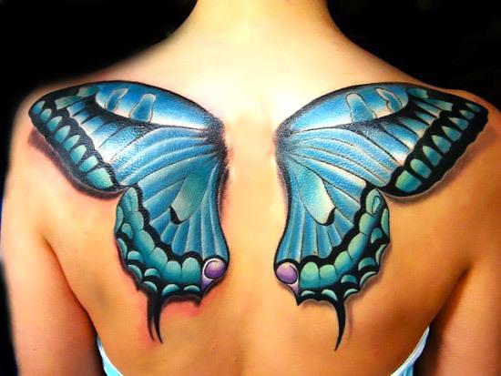 Blue 3D Butterfly Wings Tattoo Idea