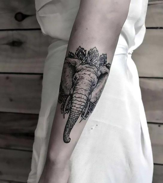 Cool Elephant Face Tattoo Idea