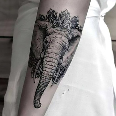 Cool Elephant Face Tattoo