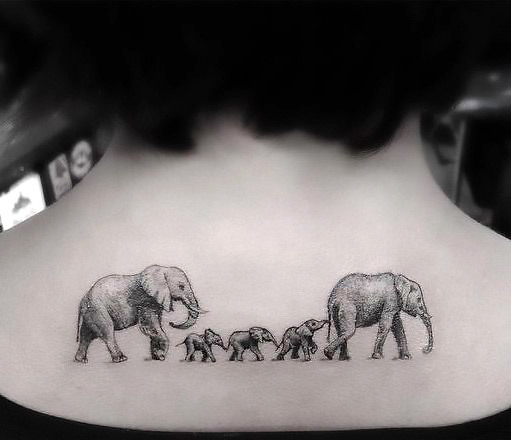 Cool Elephant Family Tattoo Idea