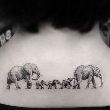 Cool Elephant Family Tattoo