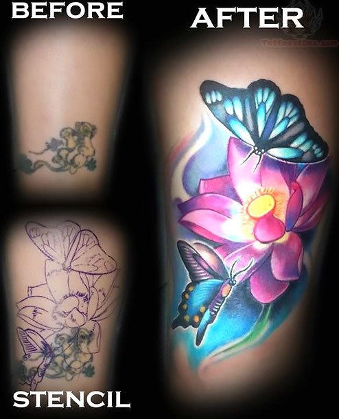 Butterflies and Flower Colorful Coverup Tattoo Idea