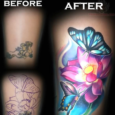 Butterflies and Flower Colorful Coverup Tattoo