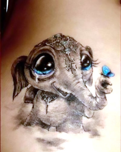 Cute Elephant Baby Tattoo Idea