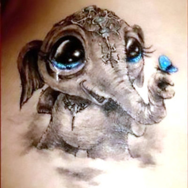 Cute Elephant Baby Tattoo