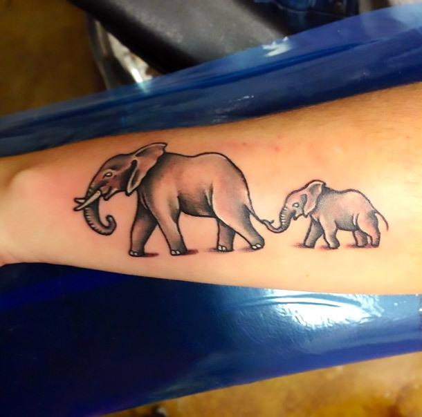 Cute Elephant Family Tattoo Idea
