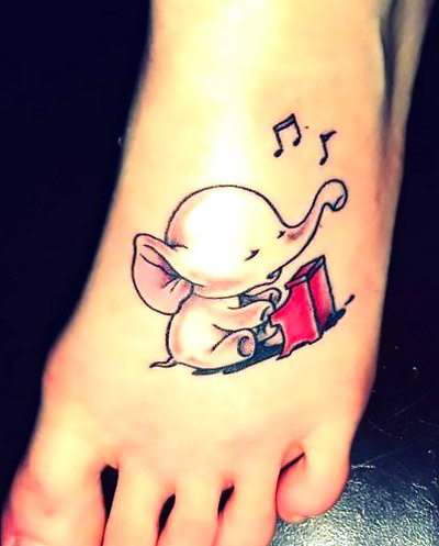 Cute Elephant Playing Piano on Foot Tattoo Idea