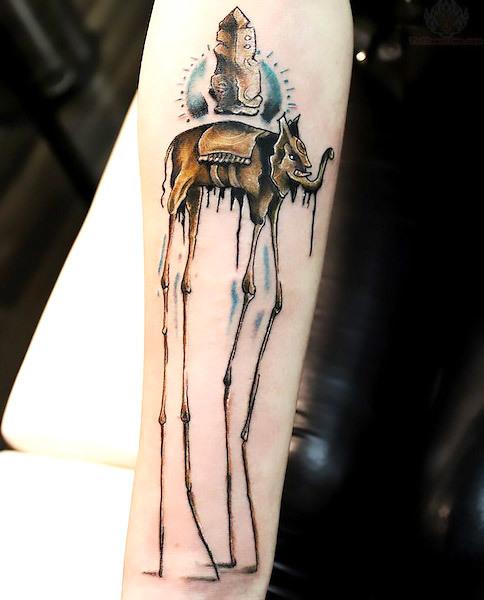 Cool Dali Elephant on Arm  Tattoo Idea