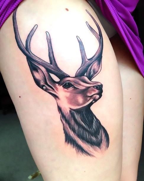 Deer Head on Thigh Tattoo Idea