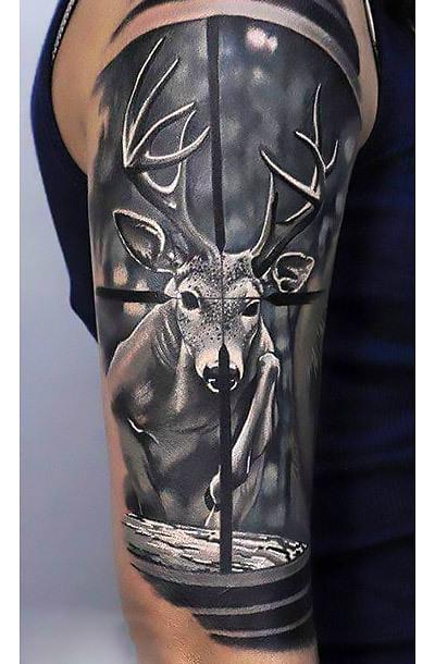 Deer Hunting Sleeve Tattoo Idea