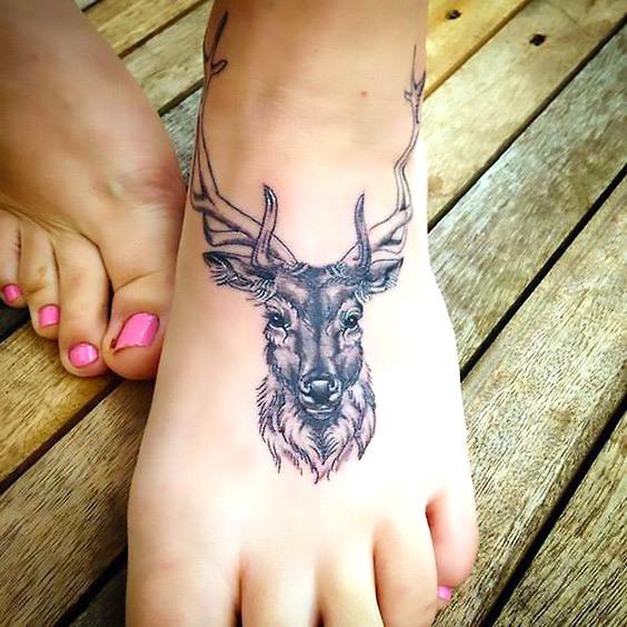 Buck on Foot Tattoo Idea