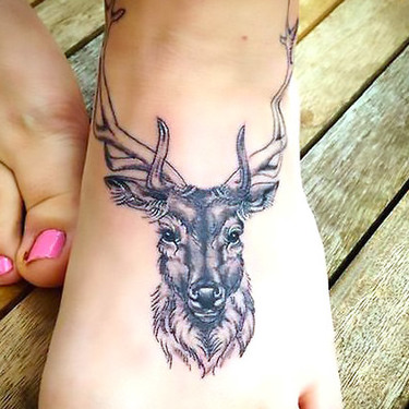 Buck on Foot Tattoo