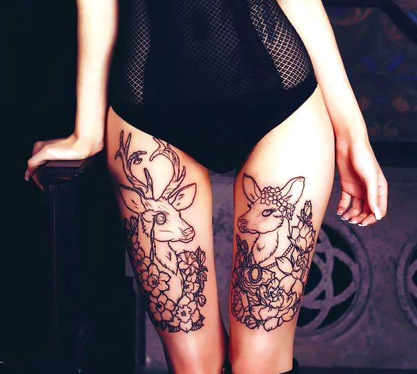 Deers on Legs Tattoo Idea