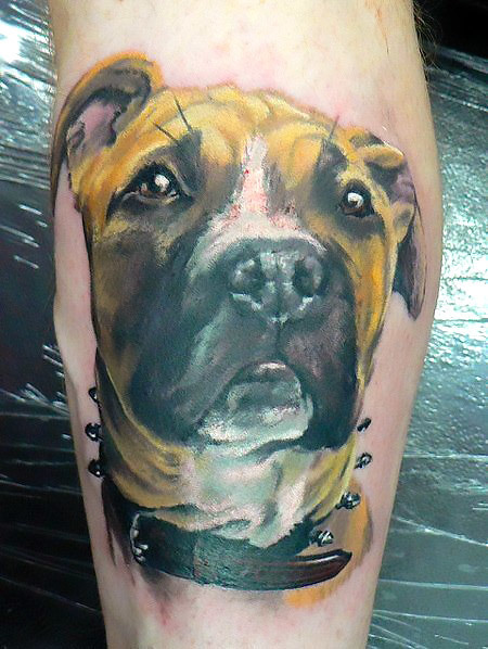 Nice Dog Memorial Tattoo Idea