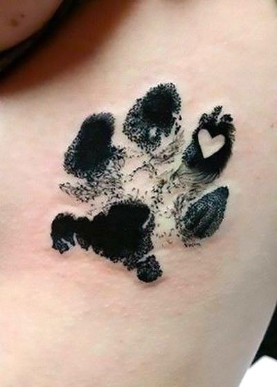 Dog Paw Print with Heart Tattoo Idea