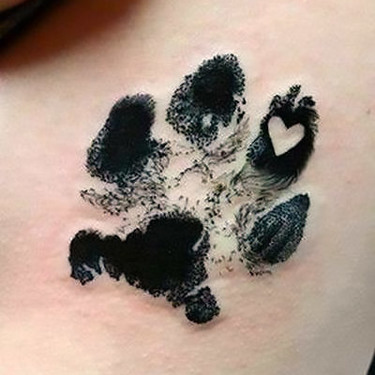 Dog Paw Print with Heart Tattoo