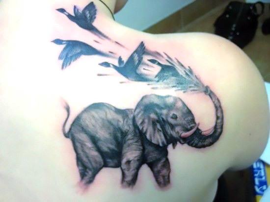 Elephant and Birds Tattoo Idea