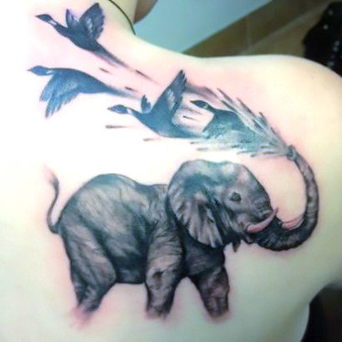 Elephant and Birds Tattoo