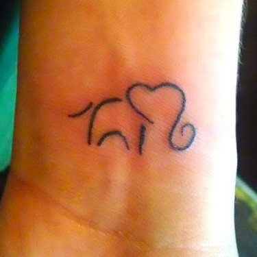 Elephant on Wrist Tattoo
