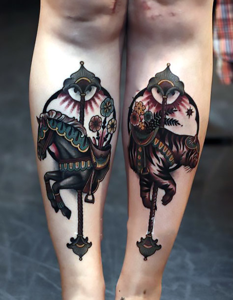 Dark Horse Carousel Tattoo Idea