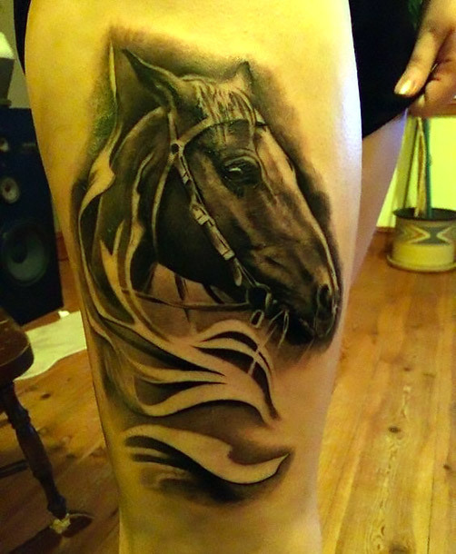 Dark Horse Head Tattoo Idea