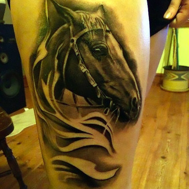 Dark Horse Head Tattoo
