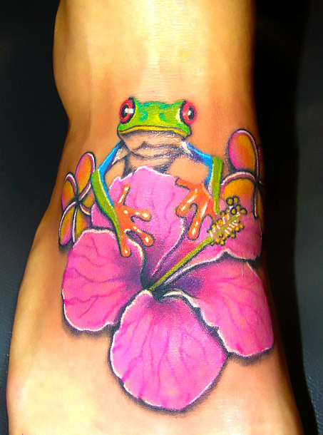 Frog and Flower on Foot Tattoo Idea